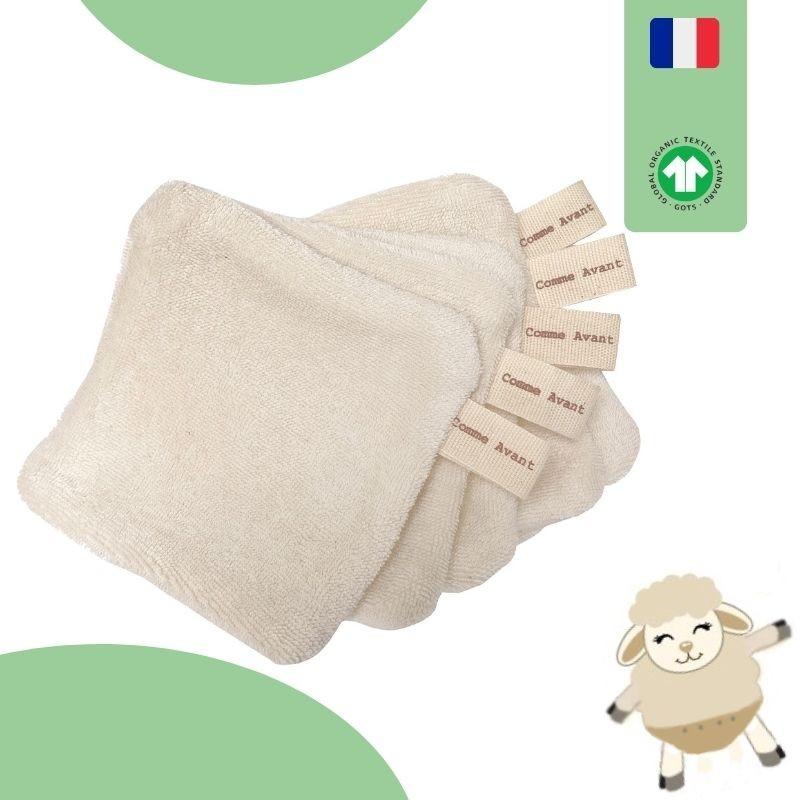 lingettes lavables bébé coton bio GOTS
